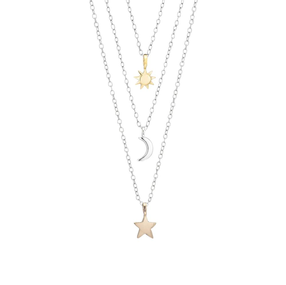 New Sun, Moon, and Stars Necklace Set - Luna & Stella FH76
