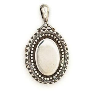 English Victorian Sterling Oval Locket