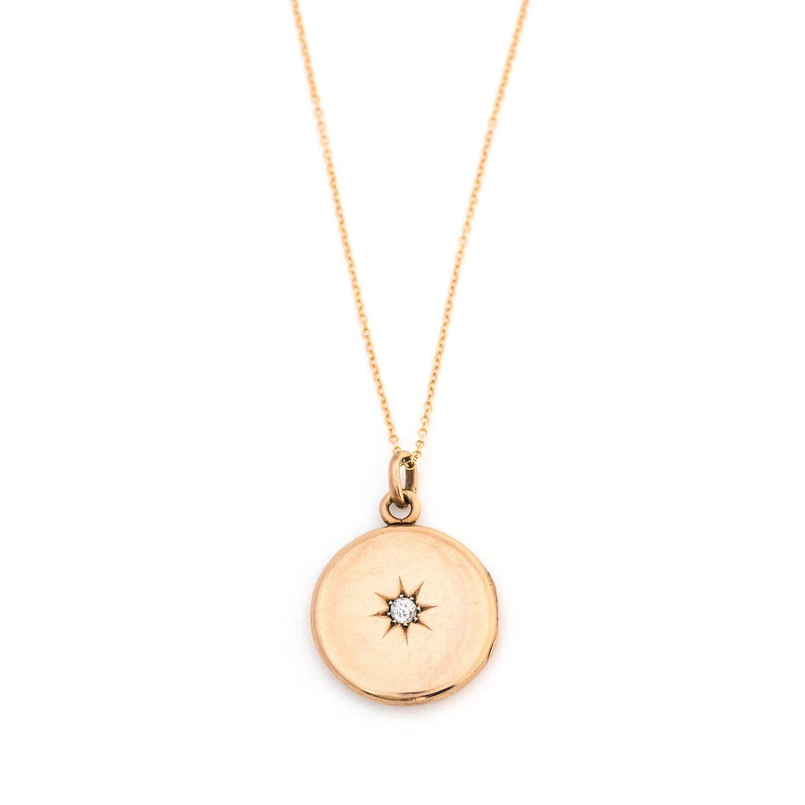 14K Gold and Diamond Victorian Starburst Locket