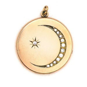 Large Crescent Moon & Starburst Locket