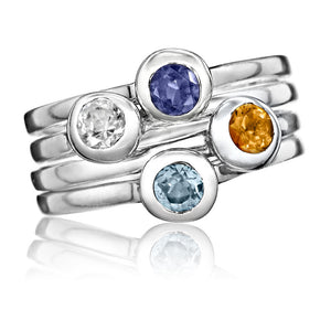 Crescent Moon Stacking Birthstone Rings - Sterling Silver