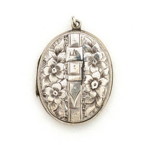 Flower & Buckle Sterling Silver Locket