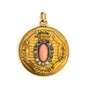 Coral Cabochon Locket