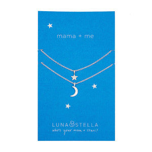 Moon + Star tiny charm necklaces