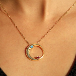 Moon & Stars Birthstone Necklace