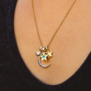 Moon & Stars Birthstone Charm Necklace