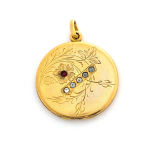 Red Stone Flower & Crossbar Locket