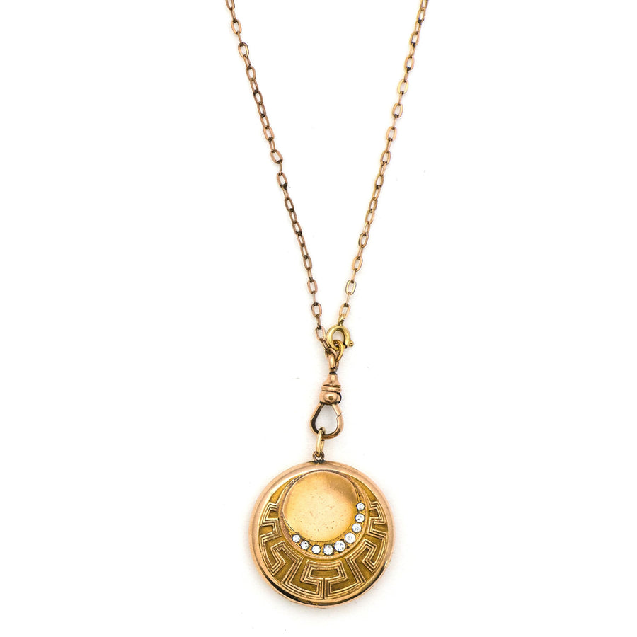 Art Deco Wave & Moon Locket