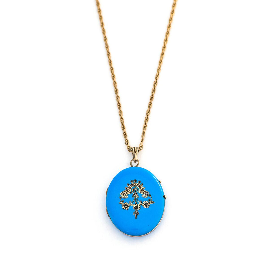 Brilliant Blue Enamel Locket