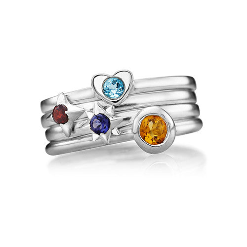Constellation Stacking Birthstone Rings - Sterling Silver