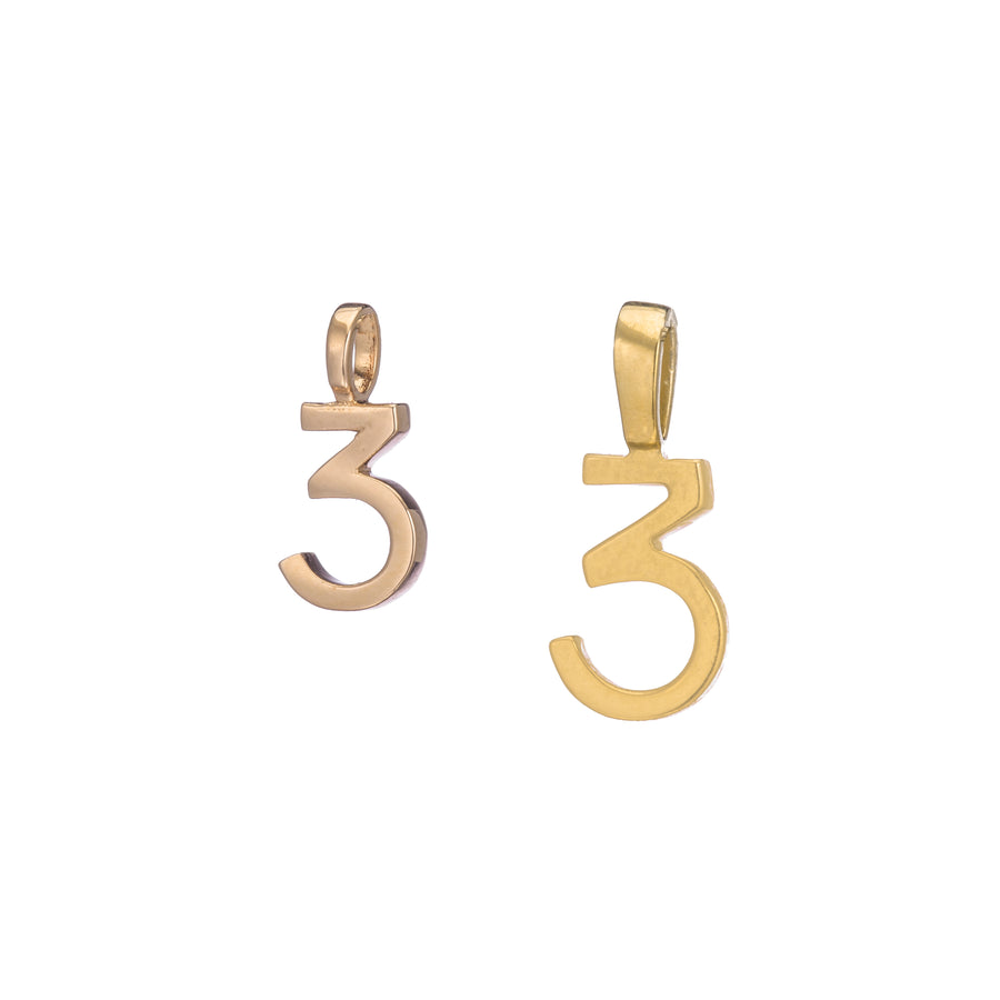 Polished Rose Gold Vermeil Number 3 Charm - Classic