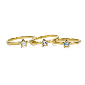 Twinkle Stacking Birthstone Rings - 14K Gold