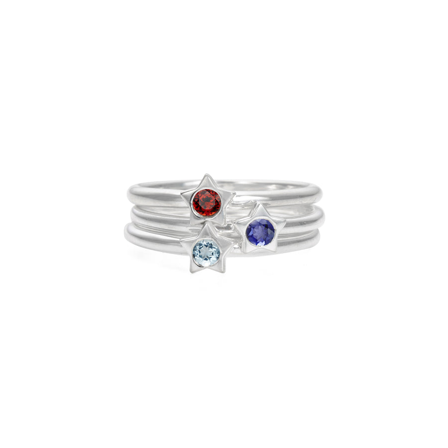 Polished Silver Twinkle Stacking Birthstone Rings - August / Peridot