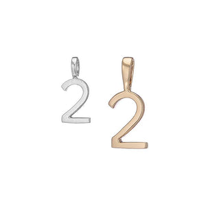 Polished Gold Vermeil Number 2 Charm - Classic