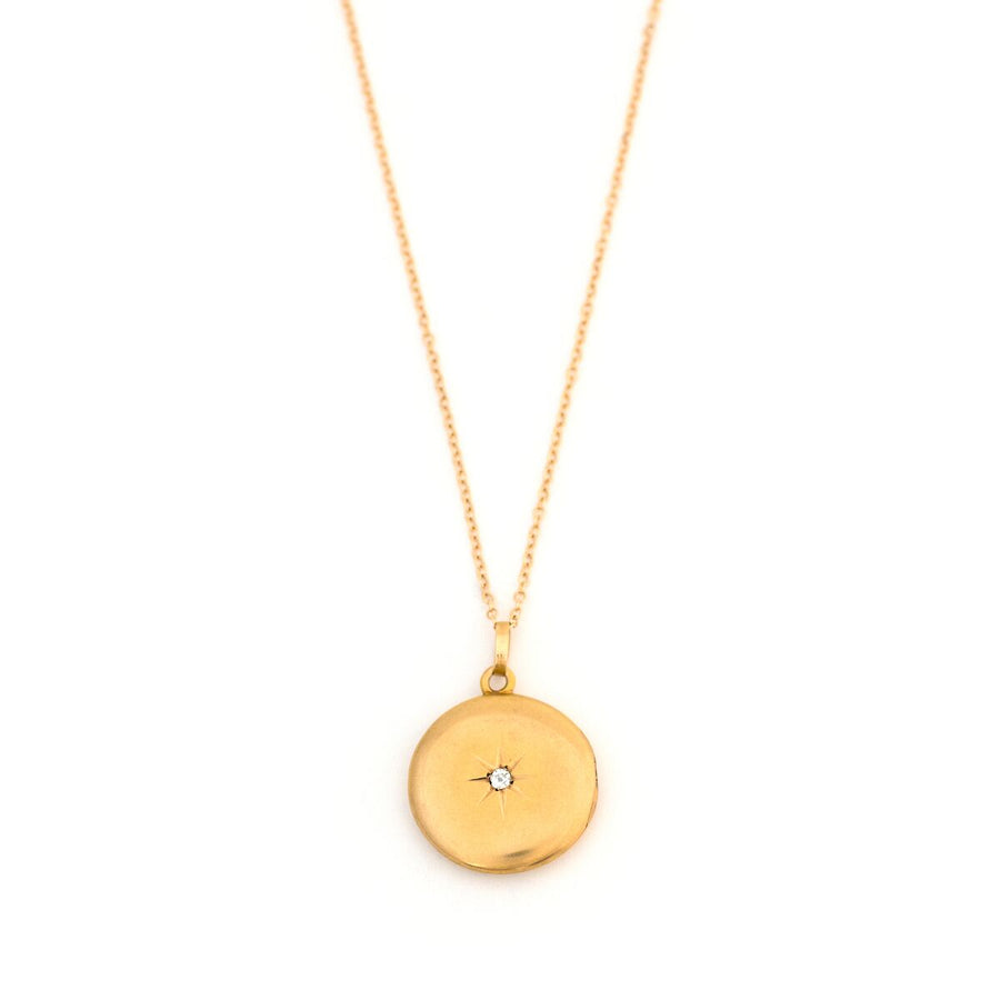 Petite 14K Gold & Diamond Starburst Locket