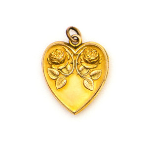 Twin Roses Heart Locket