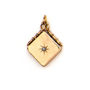 14K Gold and Diamond Star Locket