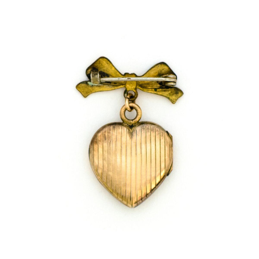 Victorian Bow & Heart Locket Brooch