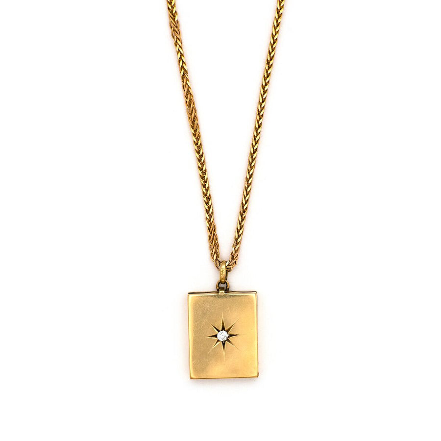 14K Gold & Diamond Star Rectangular Locket