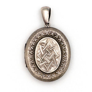 Silver Oval Textured Locket