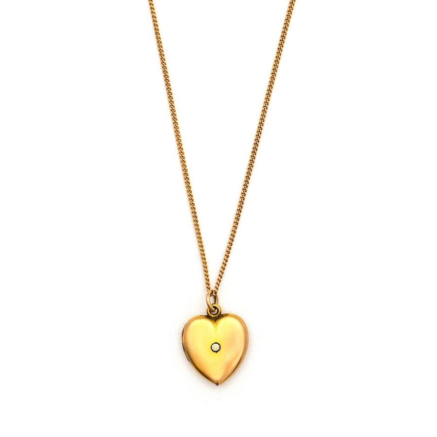 Minimalist 10K Diamond Heart Locket