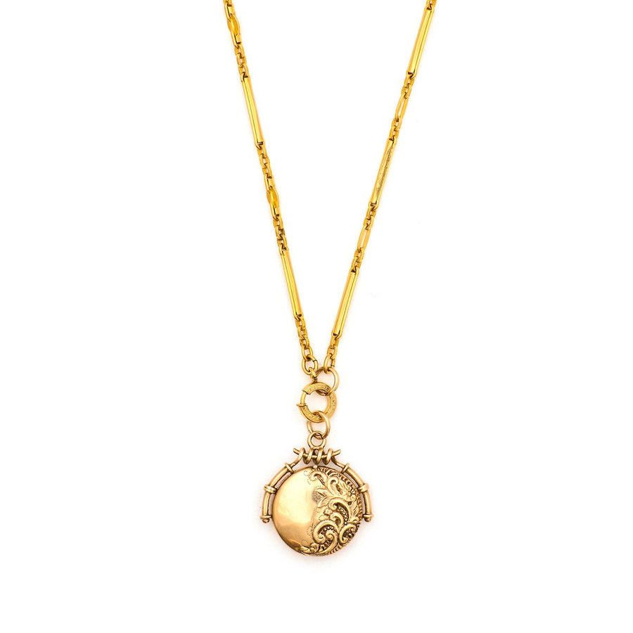 Solid 12K Floral Scroll Locket