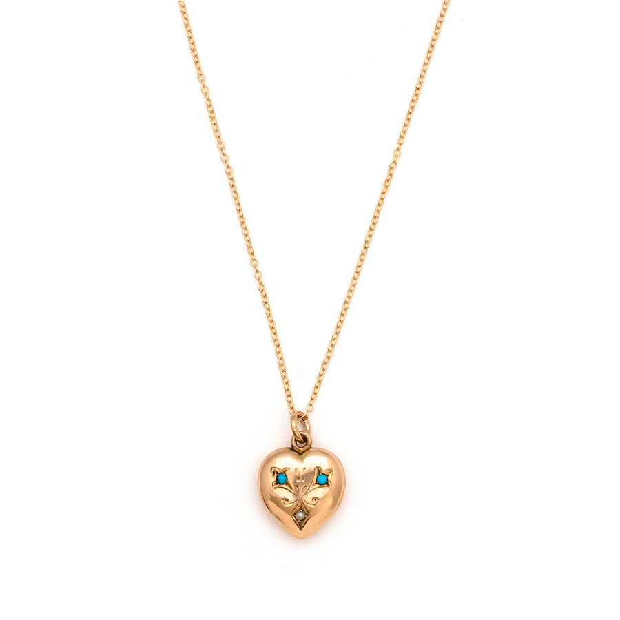 14K Gold Turquoise & Pearl Heart Locket