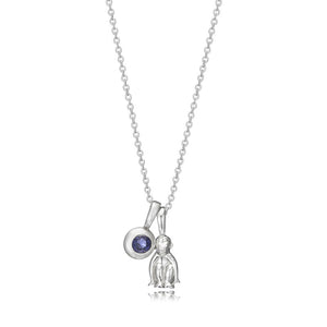 Sterling Silver Year of Monkey Charm Necklace with Iolite Moon Birthstone Charm