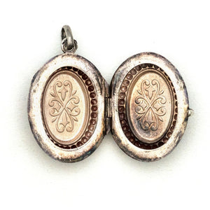 Sterling Silver Beaded Oval Locket