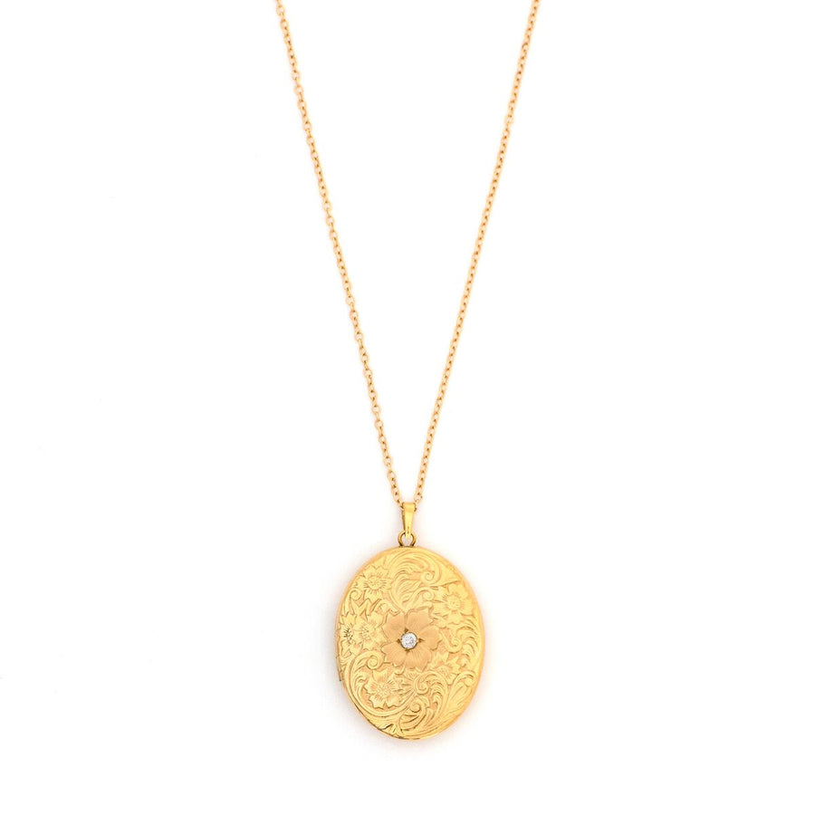 14K Gold 4-Photo Flower Locket