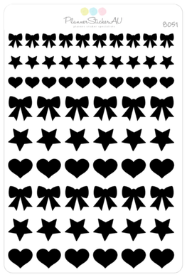 Foiled Stickers | Stars, Hearts & Bows | 8051