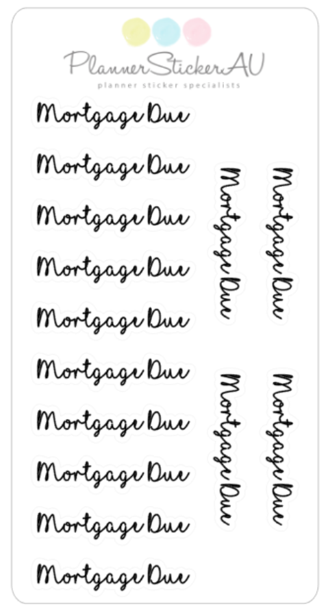 Super Mini Sheet | Text | Mortgage Due