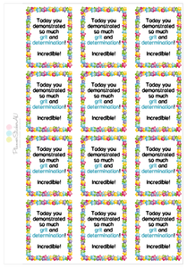 Student Encouragement Stickers | Grit & Determination