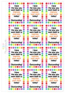 Student Encouragement Stickers | Improve Your Work