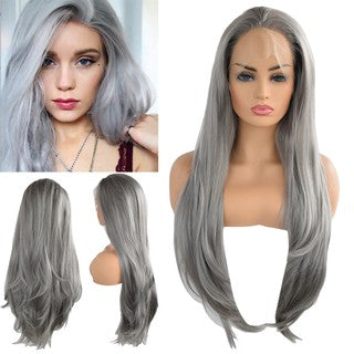 Female Grey Wavy Party Curly Synthetic Wig Lace Wigs Women Lace Front Hair