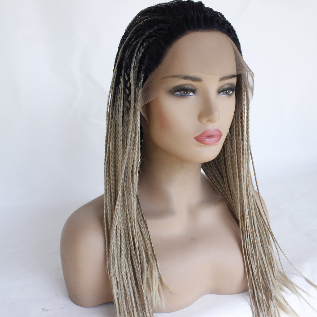 3-Twists Braided Lace Wigs Ombre Natural Hairline with Baby Hair for Black Women
