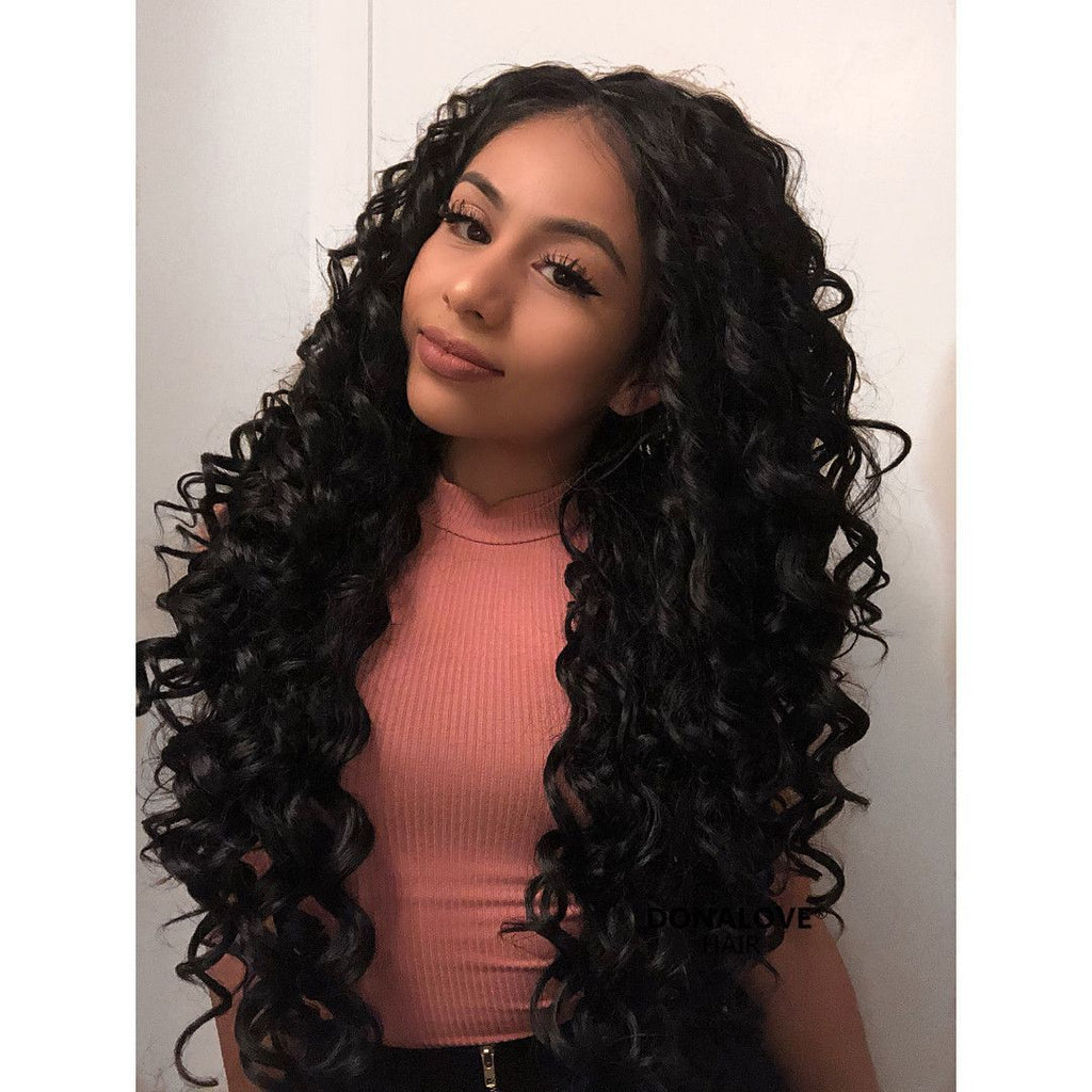 Black Curly Waist Length Synthetic Lace Front Wig