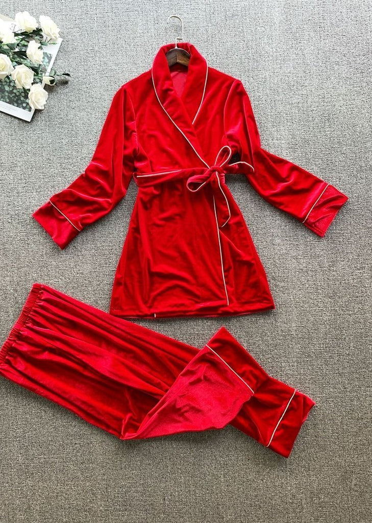 New Set 2 Pieces Lace Pajama Long Sleeve With Pockets/Free Shipping