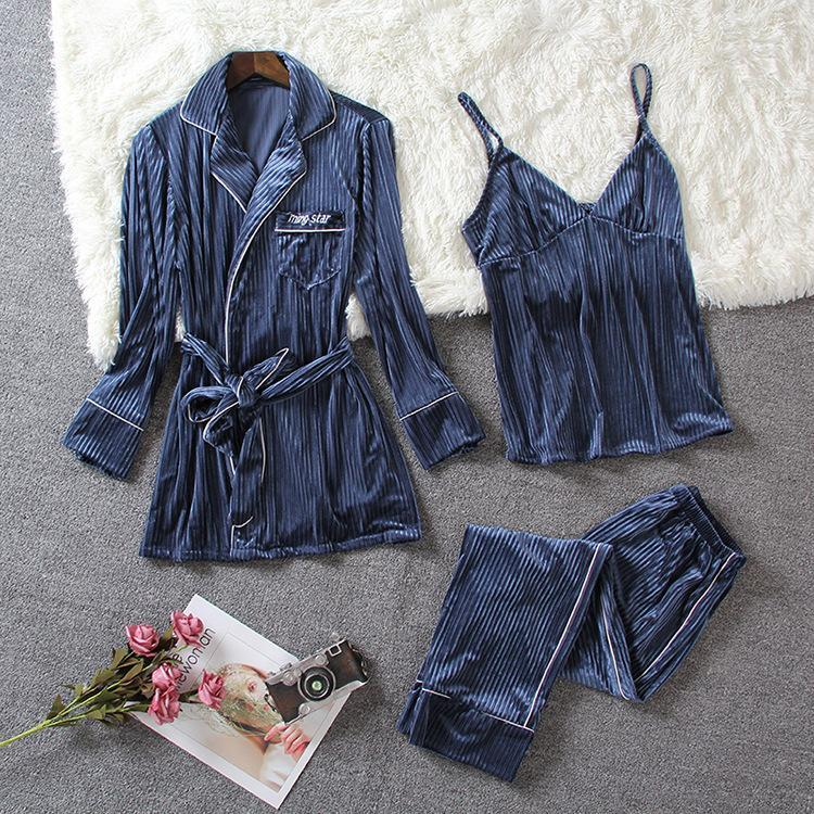 Sleepwear Set 3 Pieces Soft Lace Up Chemise Sleeveless nighties/Free Shipping