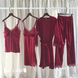 New Set 4 Pieces Lace Long Knit Robe And Chemise Sleeveless For Women/Free Shipping