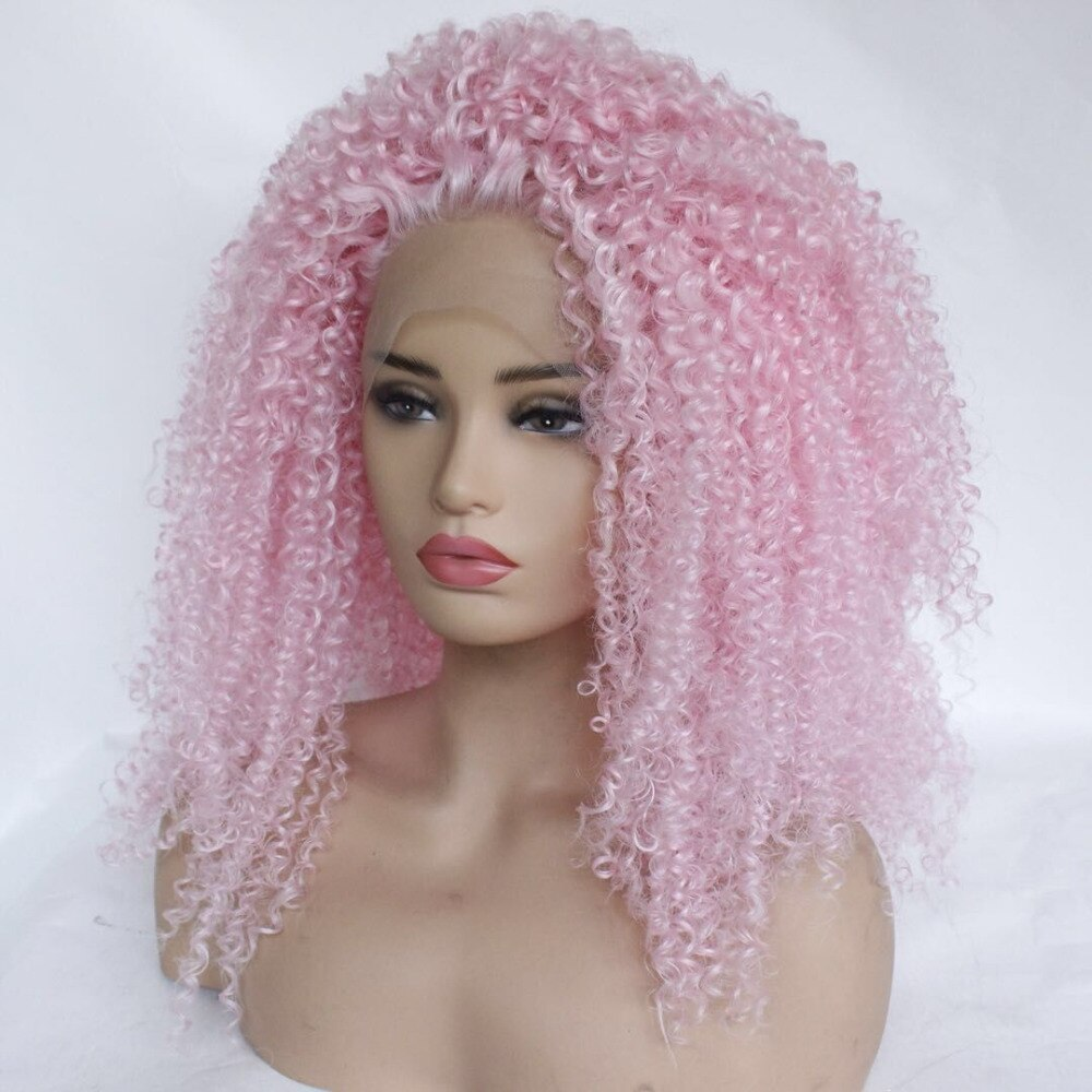 Ladiesstar Kinky Curly Pink Synthetic Lace Front Wig Heat Resistant Fiber Replacement Tight Curly Lace Front Wigs For Women