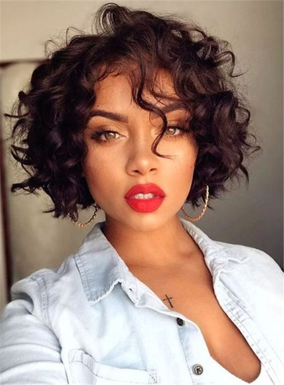 Exclusive African American Bob Hairstyles Short Curly Bob Lace Frontal Wigs For Women