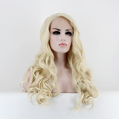 Natural Wave Style Lace Front Wig Blonde Light Blonde Synthetic Hair/Free Shipping