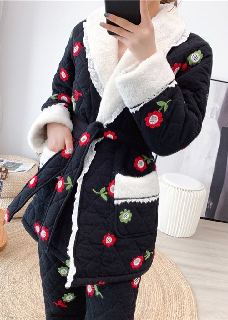 New Set 2 Pieces Side Lace up Flowers Button Long Sleeve Pajama With Pocket/Free Shipping
