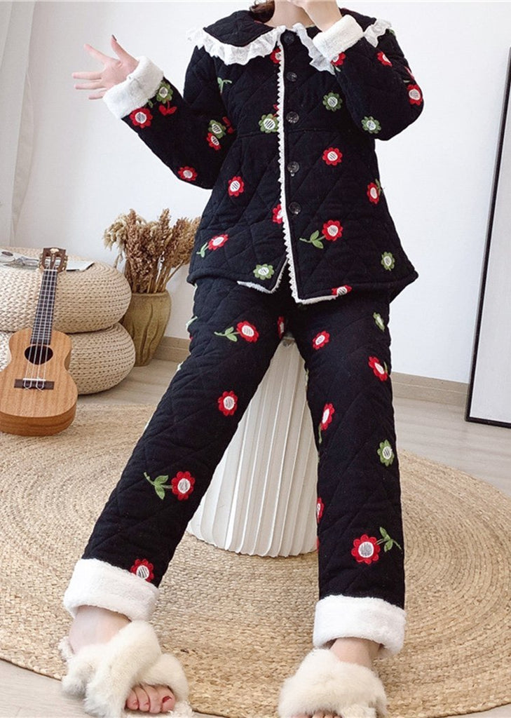 New Set 2 Pieces Flowers Button Long Sleeve Pajama/Free Shipping
