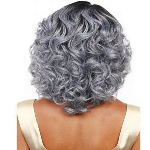 SYJF 25 Silver Grey Women's Long Hair Curly Wig