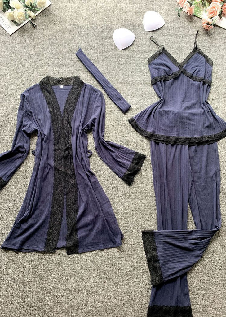 New Set 3 V Neck Soft Lace Pieces Robe and Chemise Sleeveless/Free Shipping