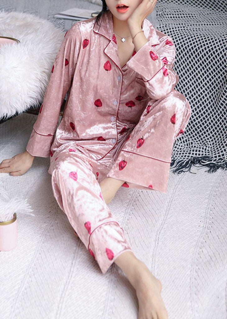 New Women's Strawberry Long Sleeve Button Set 2 Pieces With Pockets/Free Shipping
