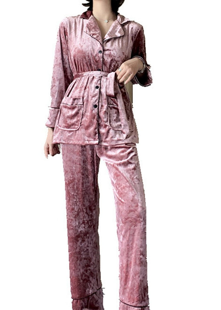 Set 2 Pieces Lace Pajama V Neck Long Sleeve With Pockets/Free Shipping