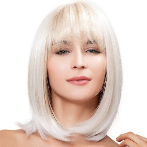 Ladies Fashion Natural Short Straight Hair Wig
